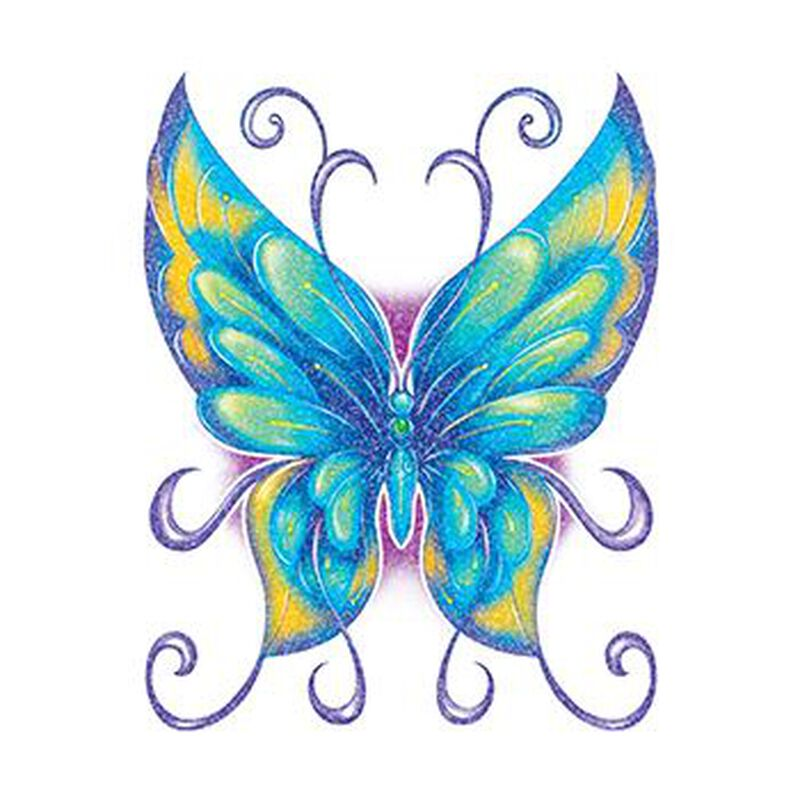 Glitter Blue and Green Butterfly Temporary Tattoo image number null