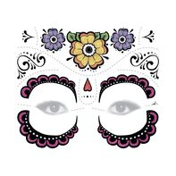 Day of the Dead Glitter Purple Face Temporary Tattoo