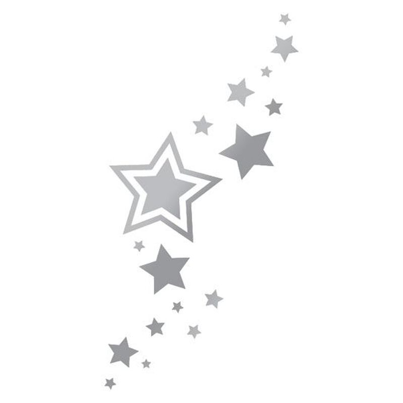 Metallic Silver Stars Temporary Tattoos image number null