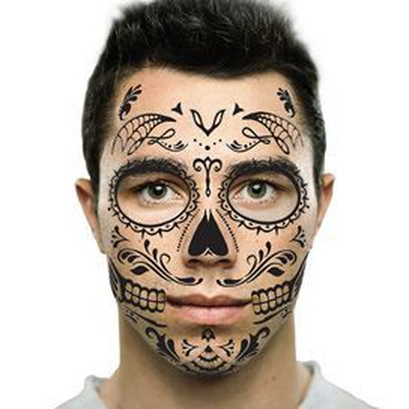 Day of the Dead: Skull Face Temporary Tattoo image number null