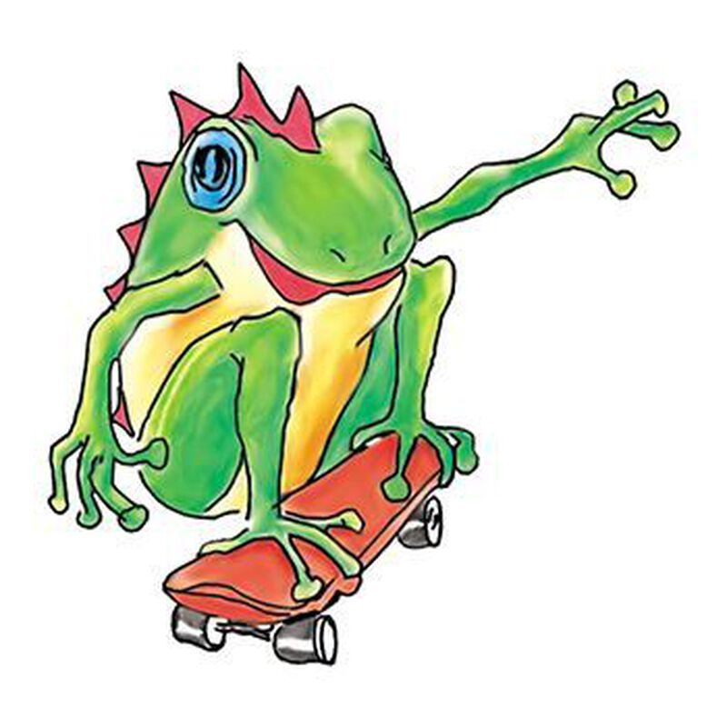Skateboarding Frog Temporary Tattoo image number null