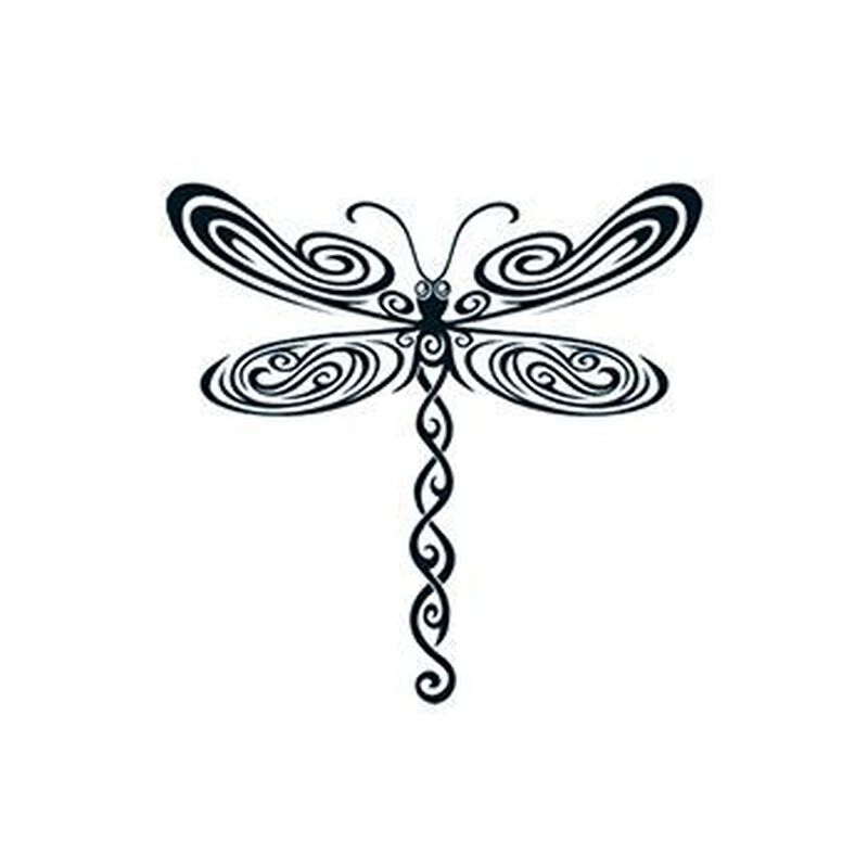 Black Tribal Dragonfly Temporary Tattoo image number null