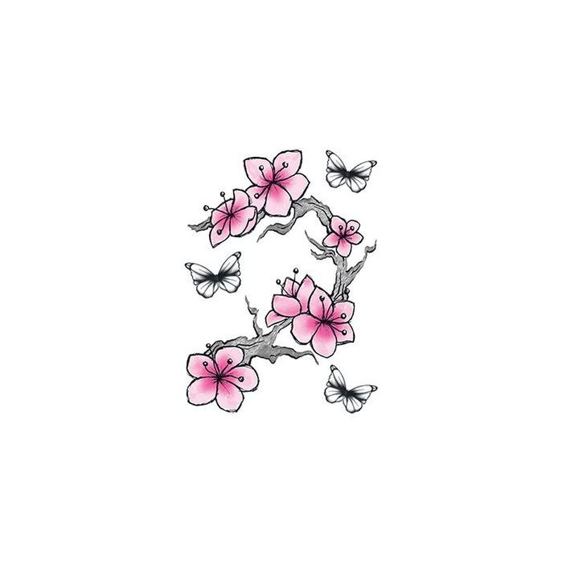 Cherry Blossoms and Butterflies Temporary Tattoo image number null