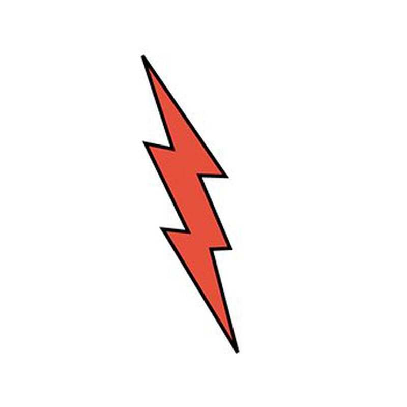 Red Lightning Bolt Temporary Tattoo image number null