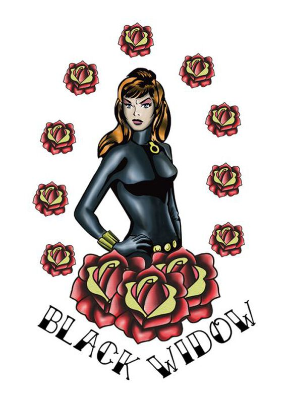 Marvel Ink Black Widow Temporary Tattoo image number null