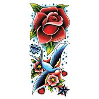 Rose and Sparrow Colorful Sleeve Temporary Tattoo