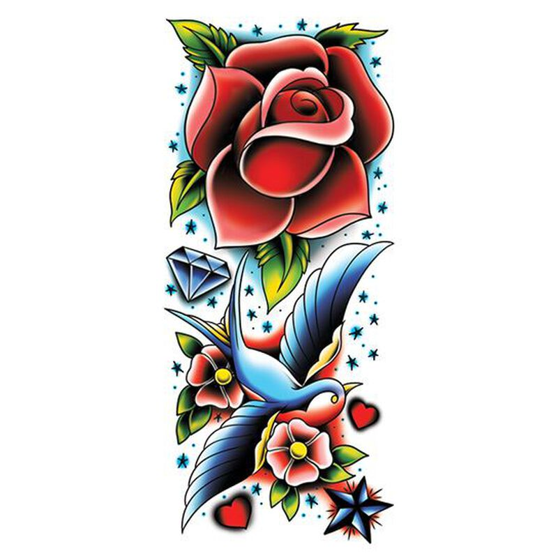 Rose and Sparrow Colorful Sleeve Temporary Tattoo image number null