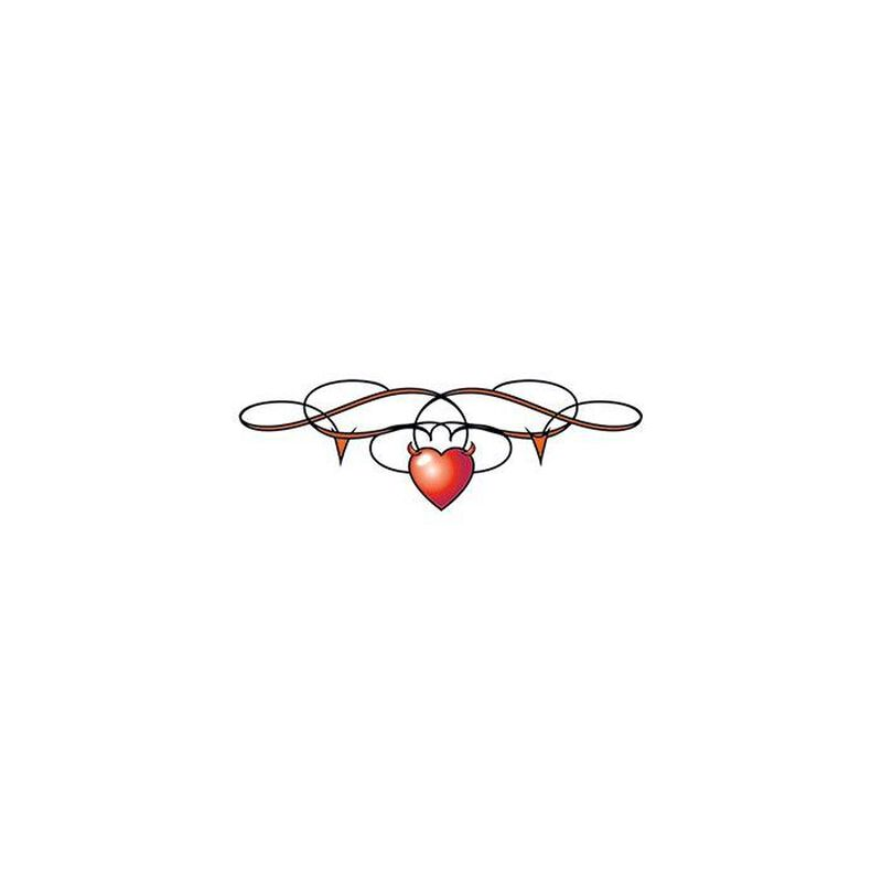 Heart with Barbed Wire Lower Back Temporary Tattoo image number null
