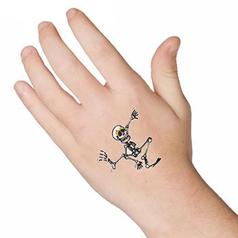 Glow in the Dark Dancing Skeleton Temporary Tattoo image number null