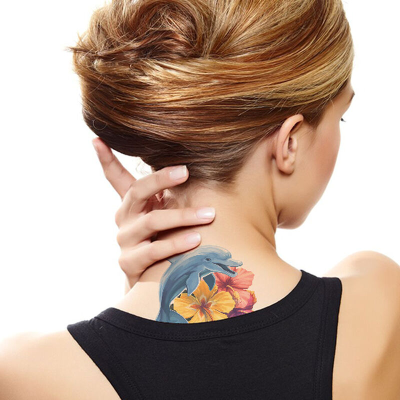 Hibiscus Dolphin Temporary Tattoo image number null