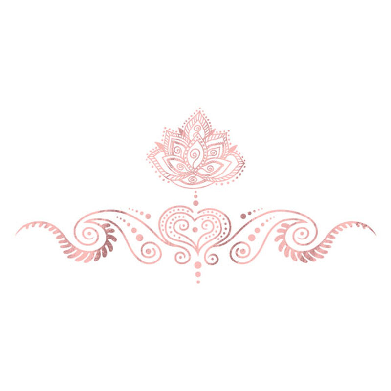Metallic Rose Gold Lotus Sternum Bikini Temporary Tattoo image number null