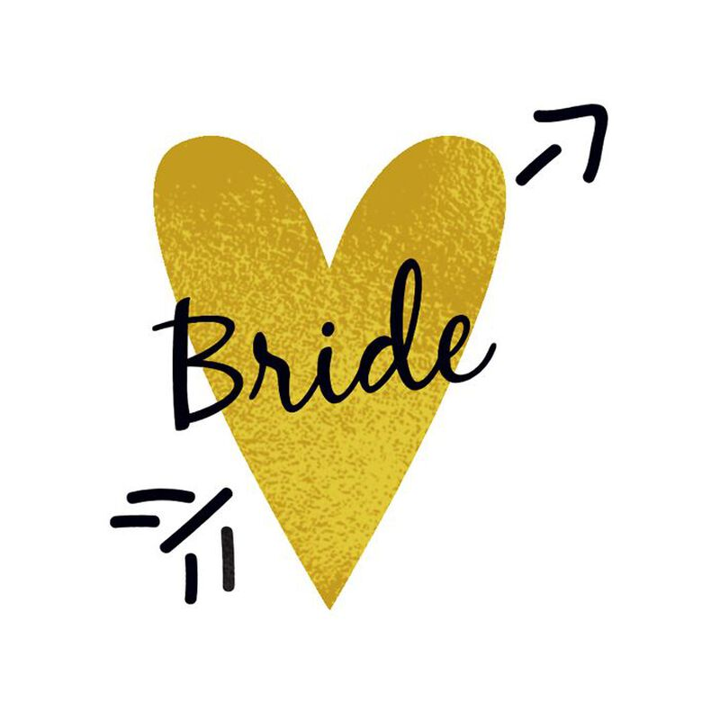 Bride Gold Heart Temporary Tattoo image number null