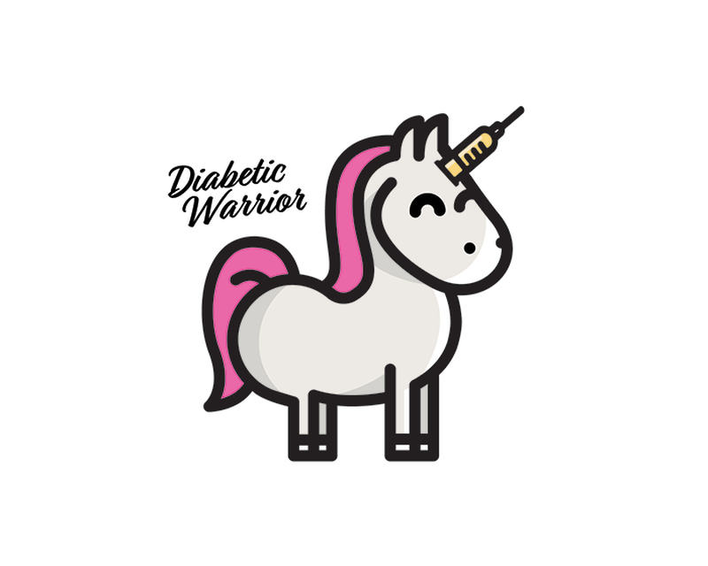 Type 1 Diabetes Unicorn Temporary Tattoo image number null