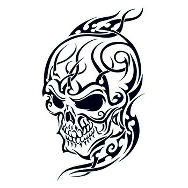 Tribal Skull Temporary Tattoo image number null