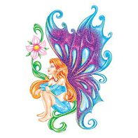 Glitter Blue and Purple Fairy Temporary Tattoo