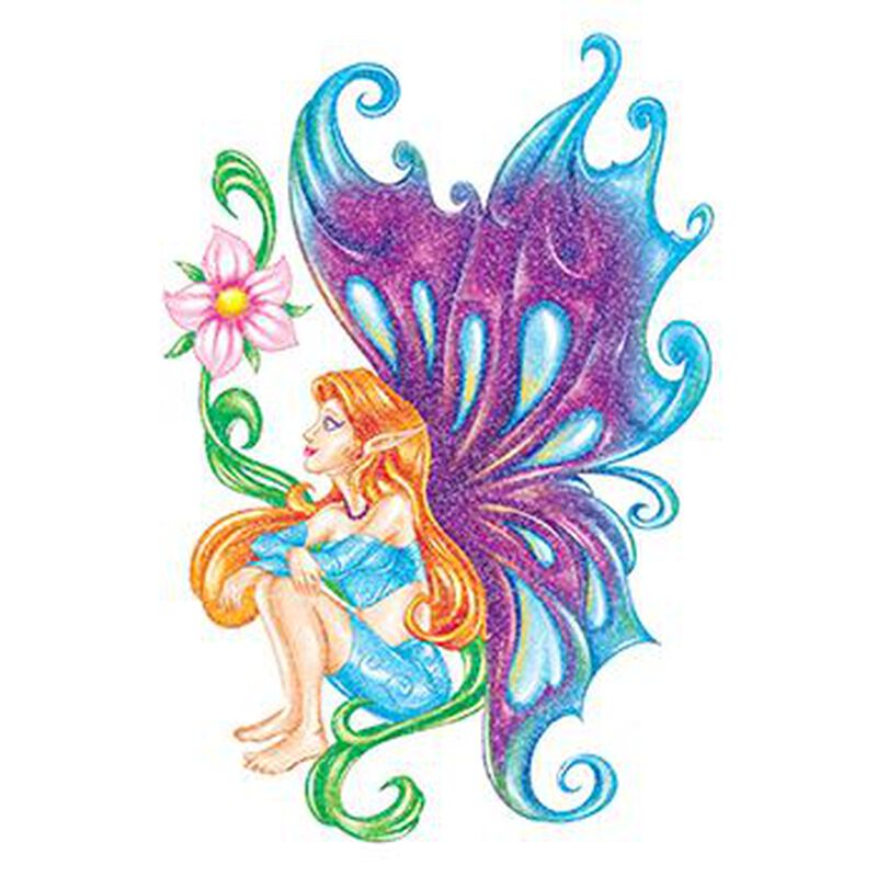 Glitter Blue and Purple Fairy Temporary Tattoo image number null