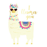 Metallic Llama Love Temporary Tattoo