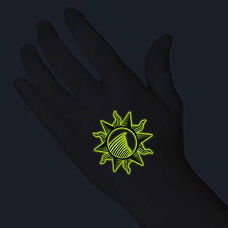 Glow in the Dark Tribal Sun Temporary Tattoo image number null