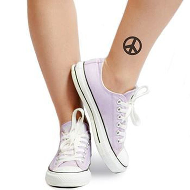 Black Peace Sign Temporary Tattoo image number null