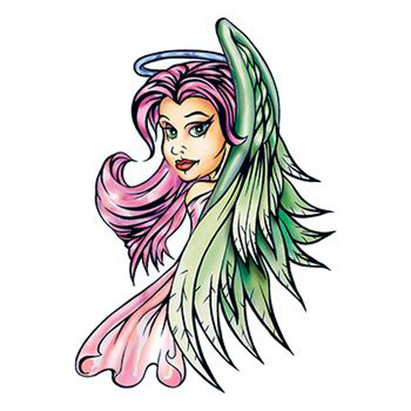 Traditional Purple Angel Temporary Tattoo image number null