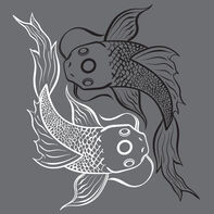 Koi Fish  Yin & Yang Temporary Tattoo