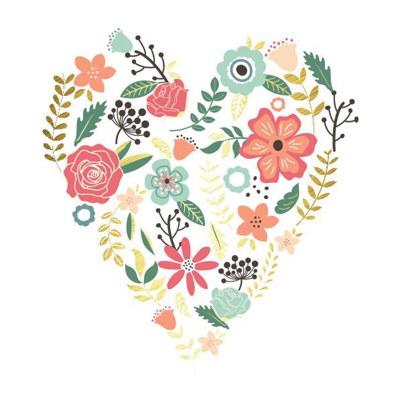 Metallic Heart Flower Bouquet Temporary Tattoo image number null