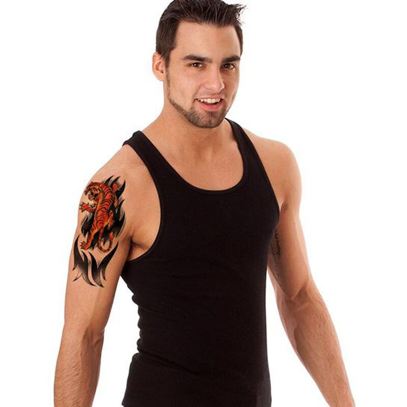 Ferocious Colored Tiger Temporary Tattoo image number null