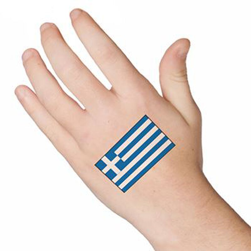 Greece Flag Temporary Tattoo image number null