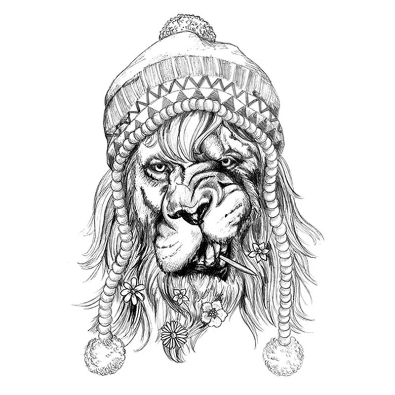 Hipster Black Lion Temporary Tattoo image number null