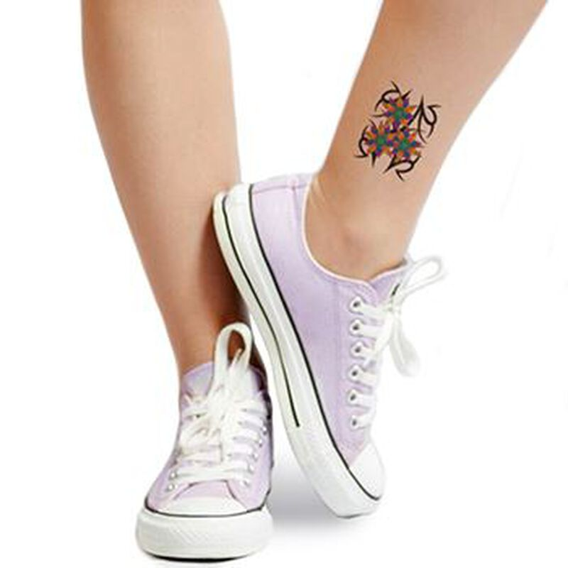 Vibrant Tribal Flowers Temporary Tattoo image number null
