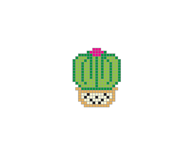 Pixel Barrel Cactus Temporary Tattoo image number null