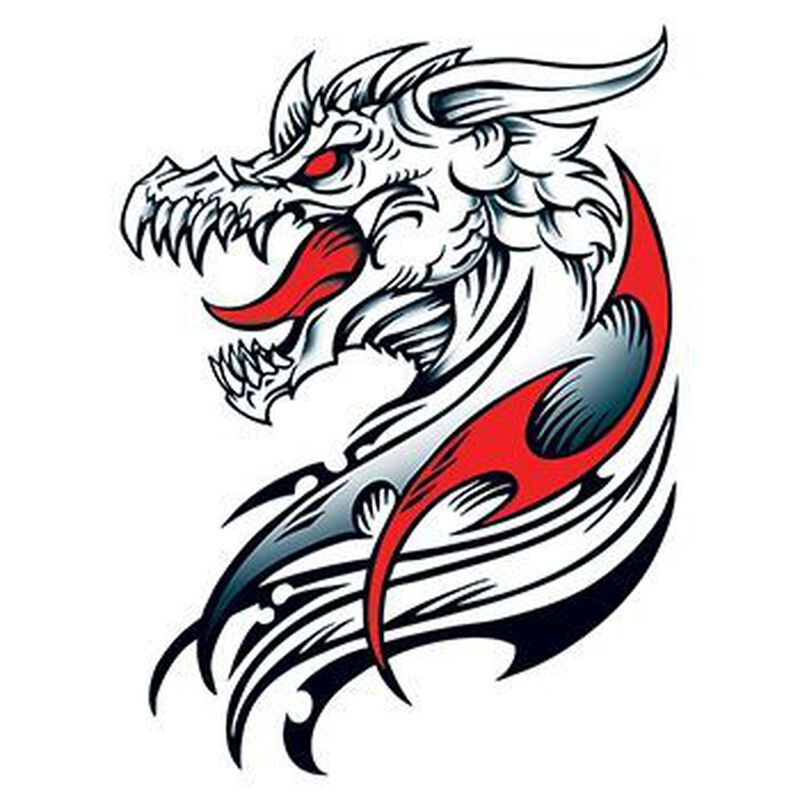 Dracul Dragon Large Temporary Tattoo image number null