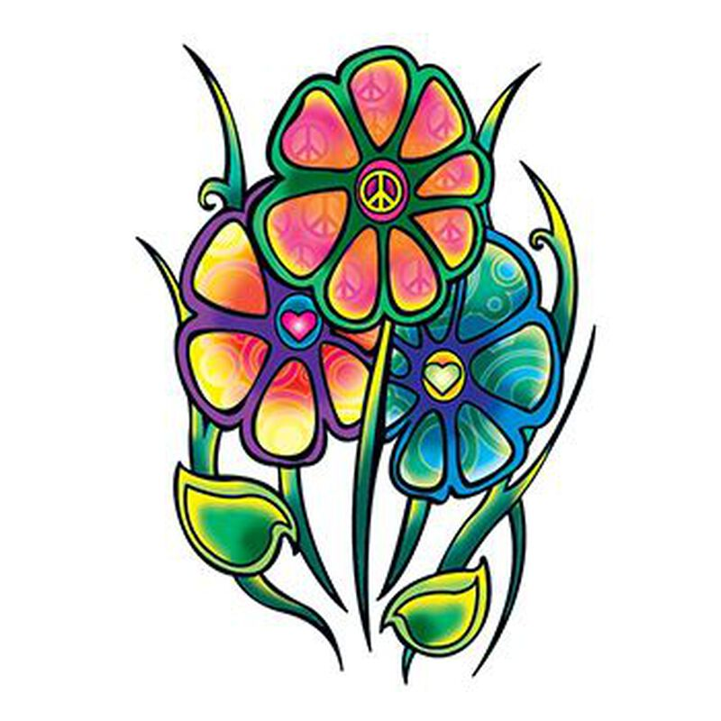 Hippie Flowers Temporary Tattoo image number null