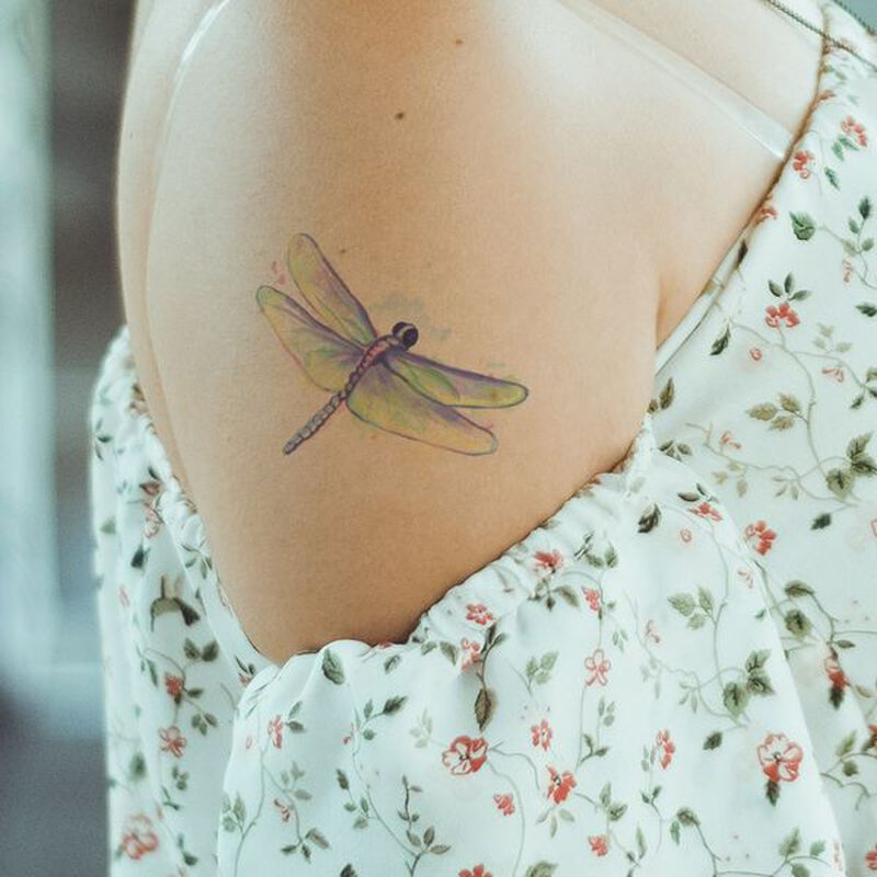 Watercolor Dragonfly Temporary Tattoo image number null