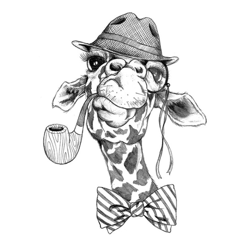 Small Hipster Giraffe With Pipe Black Temporary Tattoo image number null