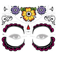 Colorful Flower  Sugar Skull Eyes Costume Tattoo