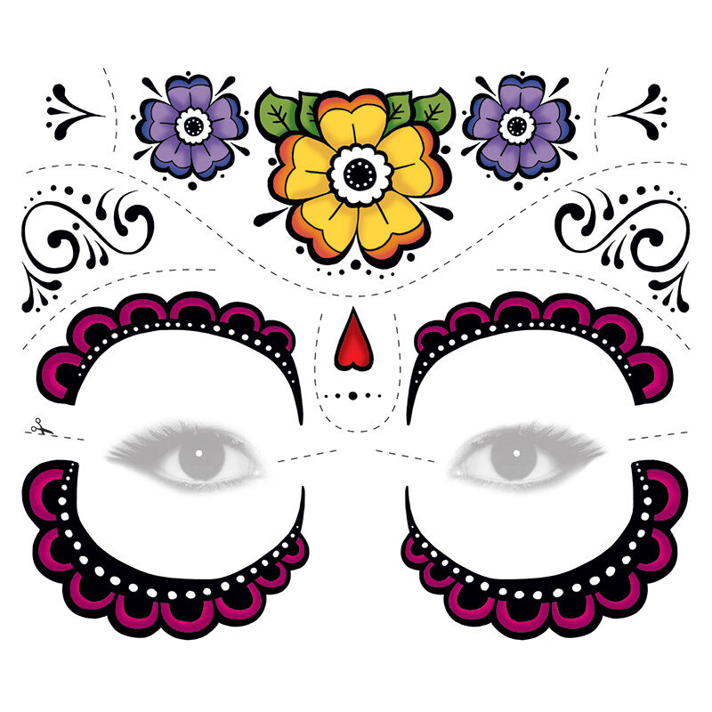 Colorful Flower  Sugar Skull Eyes Costume Tattoo image number null