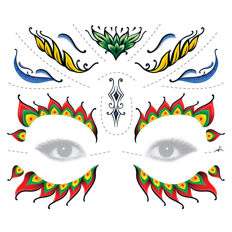 Colorful Floral Sugar Skull Eyes Costume Tattoo image number null