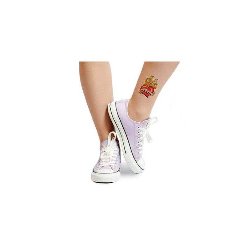 Bad Girl Flaming Heart Temporary Tattoo image number null