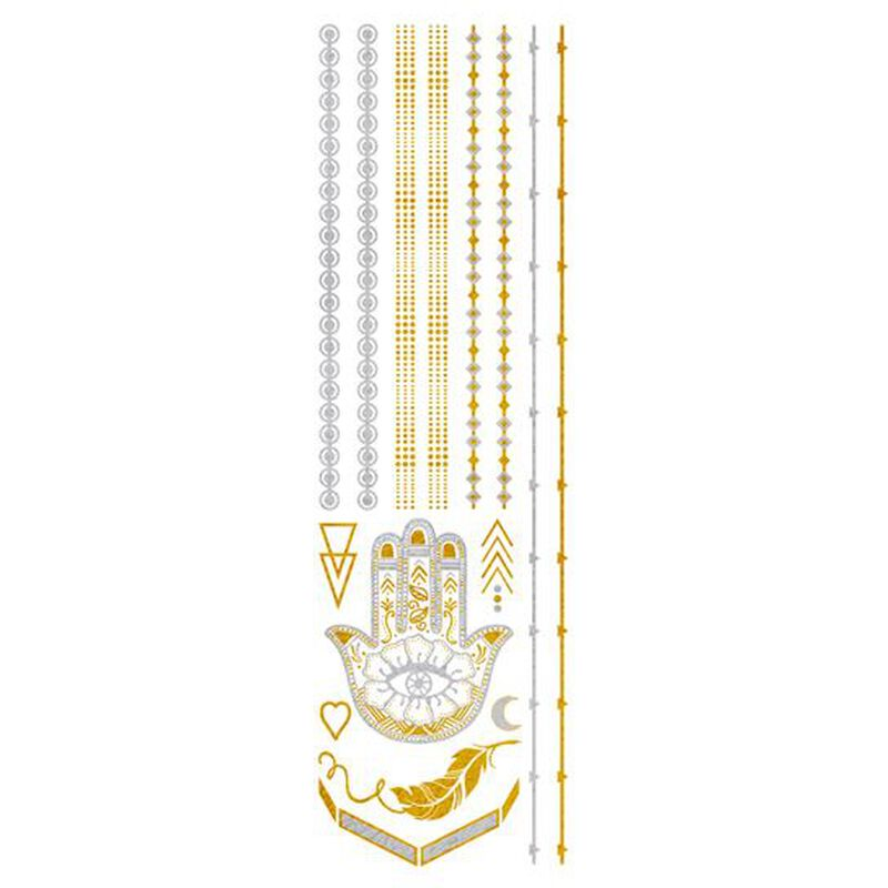 Metallic Gold and Silver Jewelry Temporary Tattoos image number null