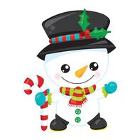Snowman with Candy Cane Temporary Tattoo
