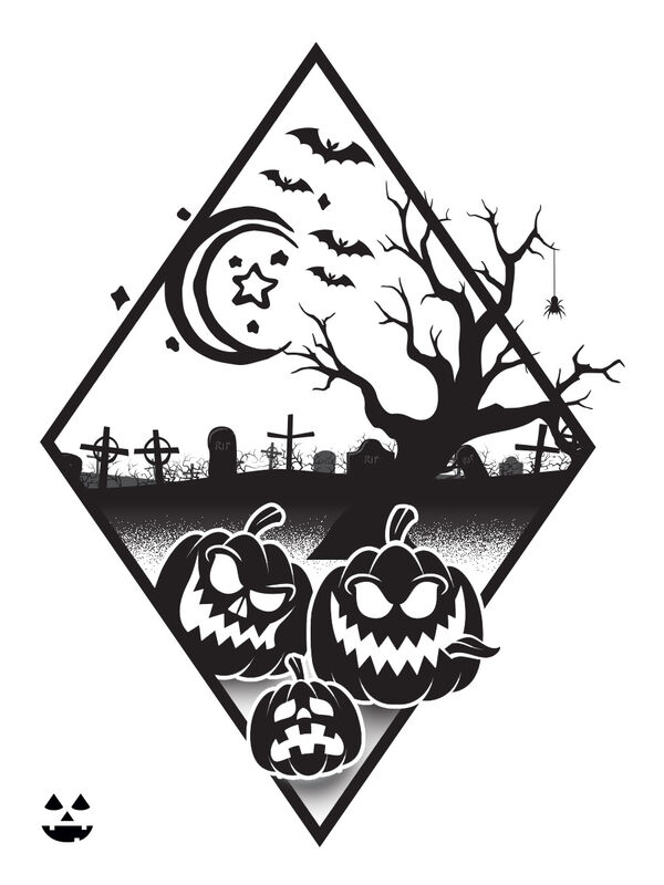 Halloween Scene Diamond Temporary Tattoo image number null
