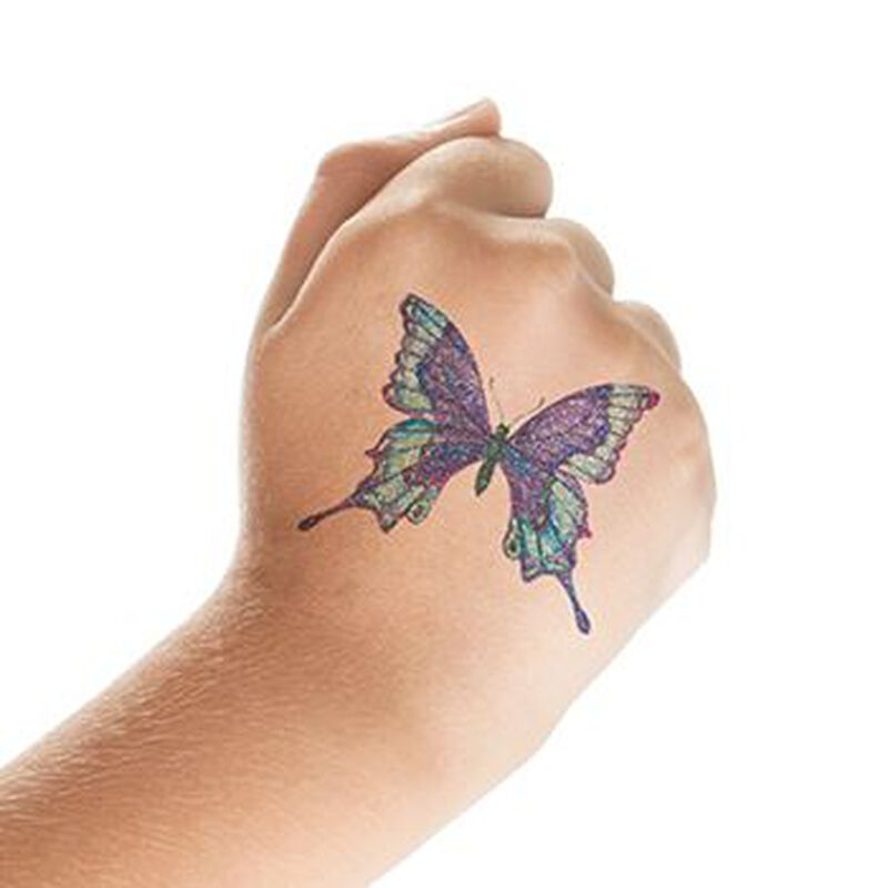 Glitter Shades of Blue Butterfly Temporary Tattoo image number null