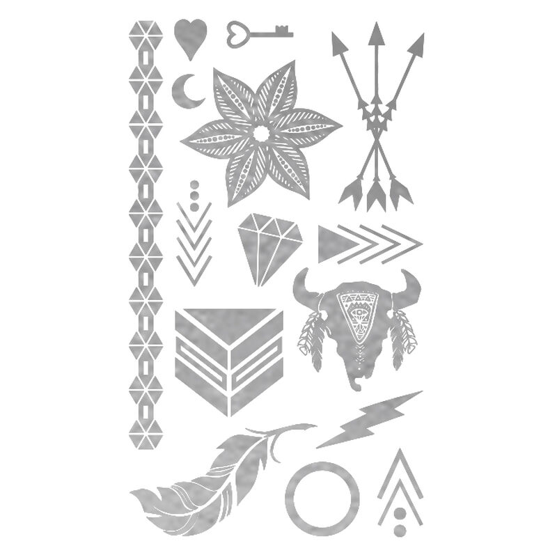 Metallic Silver Festival Collection Temporary Tattoos image number null