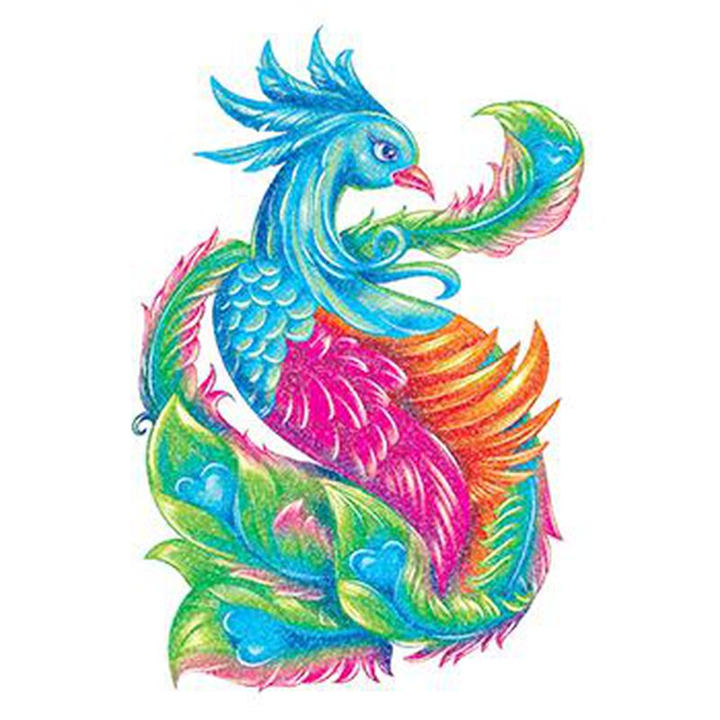 Glitter Blue Peacock Temporary Tattoo image number null