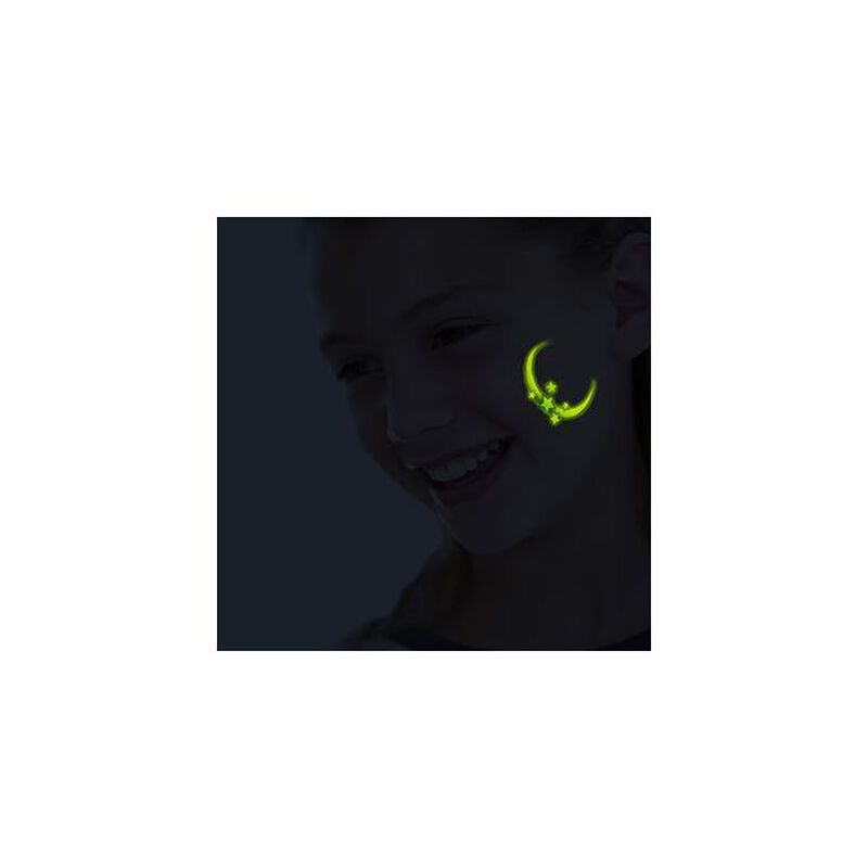 Glow in the Dark Moon and Stars Temporary Tattoo image number null