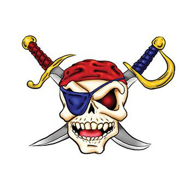 Pirate Skull and Cross Swords Temporary Tattoo image number null