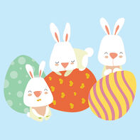 Bunnies with Easter Eggs Temporary Tattoo