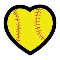 Softball Heart Temporary Tattoo