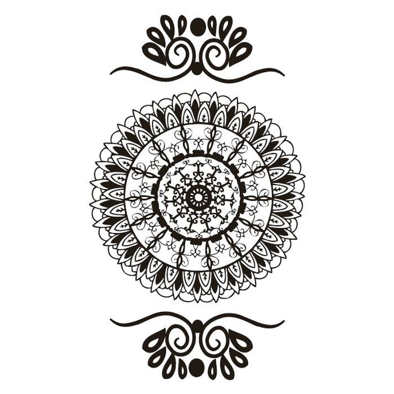 Henna: Black Mandala Traditional Design Temporary Tattoo image number null